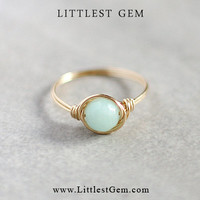 Mint Jade Ring - wire wrapped jewelry handmade - unique rings - custom