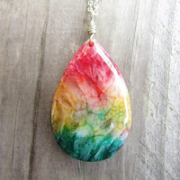 Large Rainbow Agate Teardrop Pendant Necklace with Long Silver Chain, Trendy Gifts For Her