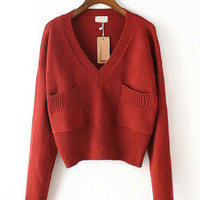 Wine Red V-Neck Knitted Sweater