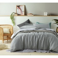 100% Linen Dove Grey Quilt Cover Set by Accessorize