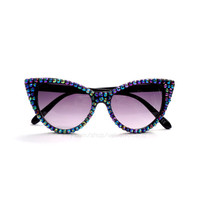 Peacock Black Rainbow Effect Crystal Encrusted Sunglasses - Sparkly Bling Glitz Eyewear - Rhinestone Cat Eye Sunglasses - Sunnies Shades