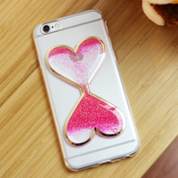 For Apple iphone 6 6s 6 plus 6s plus Noctilucence TPU Heart-shaped Liquid Quicksand cases Noctilucent clear back cover bags