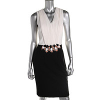 Cynthia Steffe Womens Embellished Sleeveless Cocktail Dress