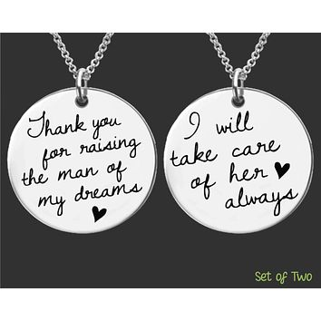 Mother of the Bride Mother of the Groom Necklace Set