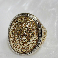 Dome Ring Elaborate Openwork Scroll Design Sterling Gold Vermeil Size 7