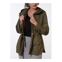 Lightweight Cotton Military Anorak Jacket with  Hoodie