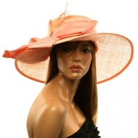 Fancy Kentucky Derby Floppy Crystals Feathers Big Ribbon Bow Church Hat Coral