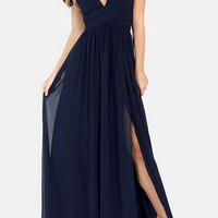 Navy Blue Chiffon Off-Shoulder Feature Maxi Dress with Slit