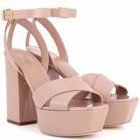 Farrah 80 leather plateau sandals