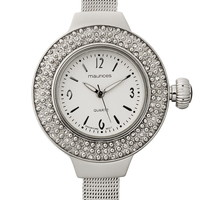 Embellished Face Silver-Colored Watch - Gray