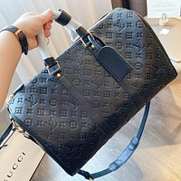 LV New fashion monogram leather travel luggage shoulder bag crossbody bag handbag Black