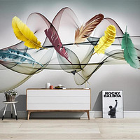 Colorful Feather Pattern 3D Hand Printed Wall Sticker