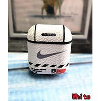NIKE Trending iPhone Airpods Headphone Case Wireless Bluetooth Headphone Protector Case(No Headphones) White