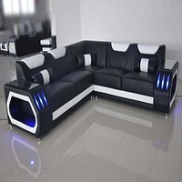 Glamorous Illuminating Corner Leather Sectional Sofa Set