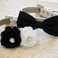Black and White Two Chic Wedding Dog Collars, Floral wedding Dog Collar