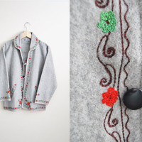 The Heidi - Vintage Grey Wool Embroidered Sweedish Lightweight Coat Jacket