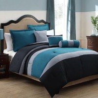 6 Piece King Tranquil Teal and Gray Comforter Set
