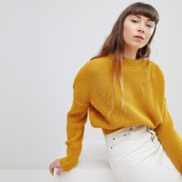 Daisy Street High Neck Sweater With Cable Knit at asos.com