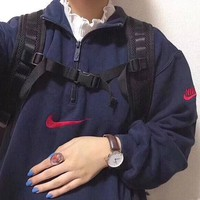 Nike Fashion Semi Zipper Top Sweater Pullover Sweatshirt