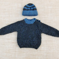 Hand Knitted Baby Boy Sweater Jumper and Striped Hat Set Wool and Alpaca Textured Flecked Yarn 3-6 Months Ready to ship from UK Worldwide