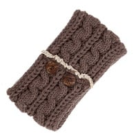 Taupe Cable Knit Ear Warmer