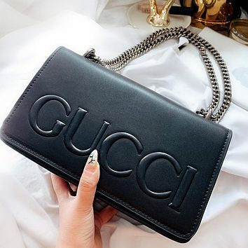 GUCCI Classic Popular Women Shopping Bag Leather Shoulder Bag Crossbody Satchel Black