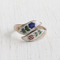 Vintage Sterling Silver Floral Enamel Bypass Ring - Retro Adjustable Colorful Blue & Red Flower Thai Jewelry / Floral Wrap