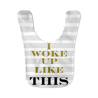 I Woke Up Like This Flawless Hip Hop Funny Rap Quote Funky Bib Print Microfiber Fleece Children Baby Bib Velcro Closure Baby Gift