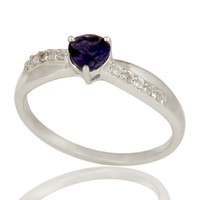 925 Sterling Silver Heart Cut Iolite And White Topaz Gemstone Halo Ring