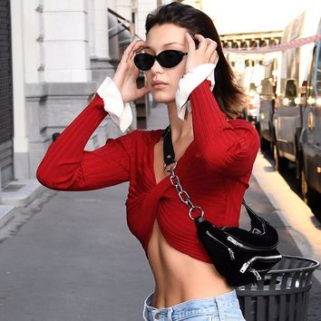 Slim V-neck Cross Straps Long Trumpet Sleeves Crop Top