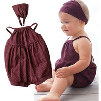 2017 Summer New baby girl romper Deep red harnesses+Head belt 2/pcs baby suit s newborn baby girl clothes set