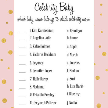 Celebrity Baby Shower Game In Pink And From Projectbambino On
