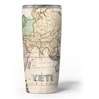 The Vintage Grand Ocean Map - Skin Decal Vinyl Wrap Kit compatible with the Yeti Rambler Cooler Tumbler Cups
