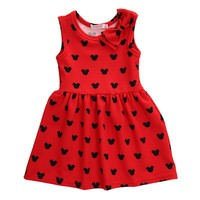 2016 Hot Cute Kids Baby Girls Cartoon Red Bow Minnie Mouse Sleeveless Party Dress For Age 1-6Year Girls