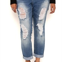 Plus Size Almost Famous Light Destructed Skinny Jeans with Rolled Hem
