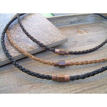 Mens Leather Necklace With Copper Toned Brass Magnetic Clasp, Copper, Magnetic Clasp,Mens Jewelry, Mens Bracelet, Leather Bracelet,