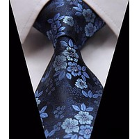 Navy Blue Paisley Tie with Medium and Light Blue Flowers