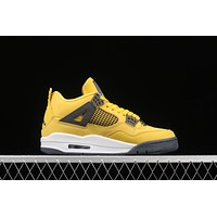 """Nike Air Jordan 4 """"Lightning"""" AJ4 re-engraved white and yellow electric female first layer basketball shoes"""