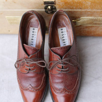 Rich Brown Italian Wing tip Oxford Women Shoes by Fratelli Rossetti
