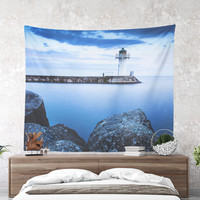 Wall Tapestry With Ocean Photo Print, Sea Tapestry, Nautical, Lighthouse Tapestry, Home Decor, Coastal, Wall Decor, Dorm Decor, Original