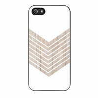 White Geometric Minimalist With Wood Grain iPhone 5 Case