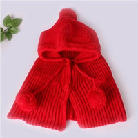 Infants Girls Kids Knit Crochet Winter Warm Hat Cap Scarf Shawl Earflap Beanie = 1958461636