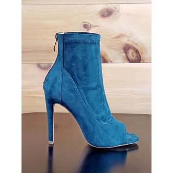 Cape Robbin Teal Green Peacock Ankle Boot Open Toe Stiletto Heel