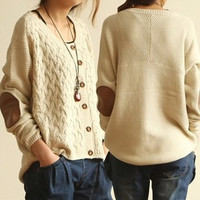 Vintage Leather Elbow Patch Sleeve Cardigans