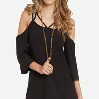 Strappy Off-Shoulder Chiffon Mini Dress