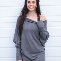 Off and On Tunic- Charcoal