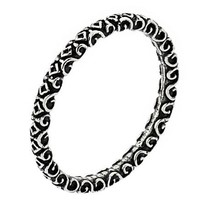 Antique Look Decorated Swirl Pattern Sterling Silver Stackable Band Ring