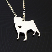 Pug Necklace - Sterling Silver Necklace - Any Dog Breed Necklace - I heart Pug - I love Pug - Pet Necklace - Best Friend Necklace