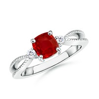 Cushion Ruby and Diamond Twisted Rope Split Shank Ring