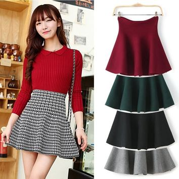 High Waist Kintted Pleated Skirt - Red Green Black Grey Plaid